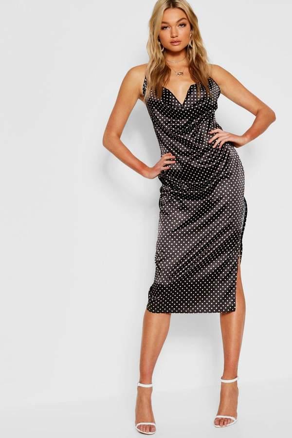 Tall Polka Dot Satin Cowl Neck Midi Dress