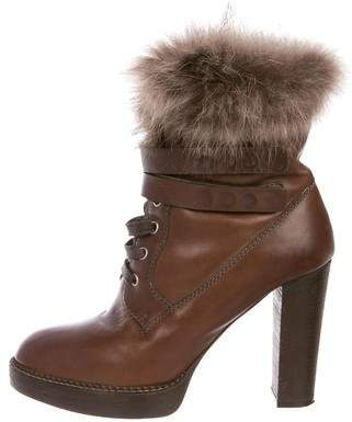 Brunello Cucinelli Fur-Trimmed Leather Ankle Boots