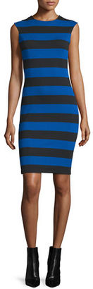 MICHAEL Michael Kors Cap-Sleeve Striped Sheath Dress $140 thestylecure.com