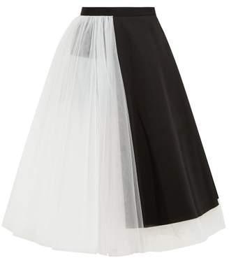 Junya Watanabe Panelled Wool And Tulle Midi Skirt - Womens - Black