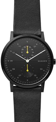 Skagen Kristoffer Black Leather Strap Watch, 42mm