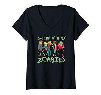 Womens Chillin With My Zombies Halloween Kids Spooky Party V-Neck T-Shirt
