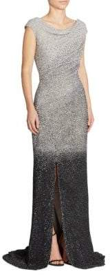 Pamella Roland Ombre Sequin Silk Gown
