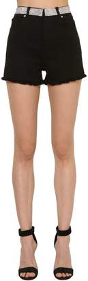 Alexandre Vauthier Crystal Waistband Denim Shorts