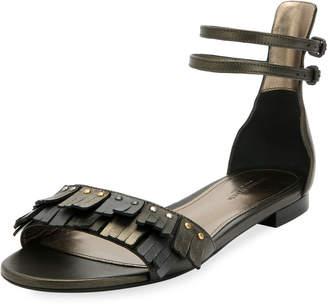 Bottega Veneta Antique Napa Fringe Flat Sandals