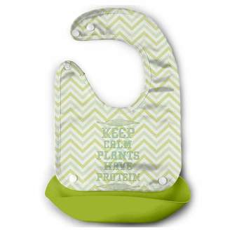 Leopoldson Keep Calm Plants Have Protein Vegan Waterproof Baby Bucket Bib Silicone Bibs Toddlers with Pocket
