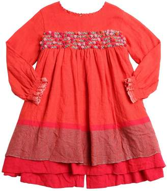 Embroidered Pompom Wool Flannel Dress