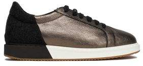Brunello Cucinelli Metallic Textured-Leather And Felt Sneakers