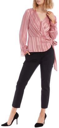 Miss Shop Dusty Rose Self Stripe Wrap Top