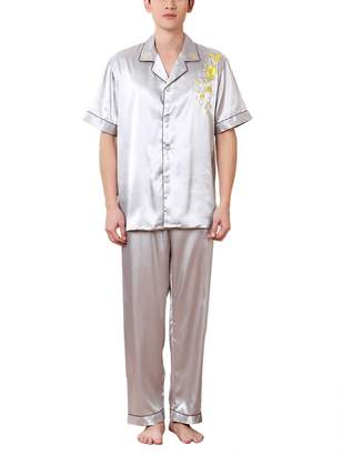 935d4ba2c1 FEOYA Men s Silk Pajamas Set Short Sleeve Long Pants Satin Pajamas Nightwear  - XXL