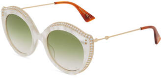 Gucci Acetate/Metal Crystal Cat-Eye Sunglasses