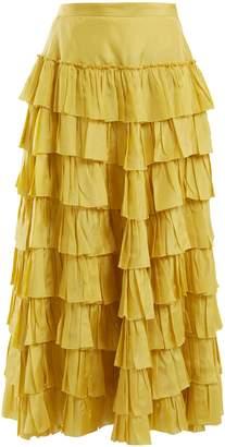 Gucci Ruffle-tiered habotai-silk skirt