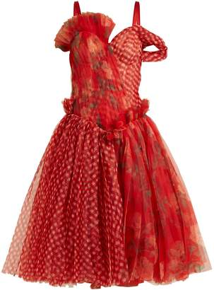 Alexander McQueen Pleated floral-print and checked organza dress