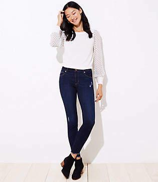 LOFT Curvy Frayed Skinny Jeans in Dark Indigo Wash