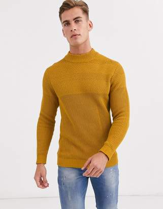 Selected chunky crew neck knitted jumper in yellow