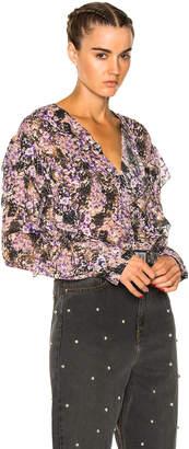 Etoile Isabel Marant Jelby Flowers Camouflage Ruffled Blouse