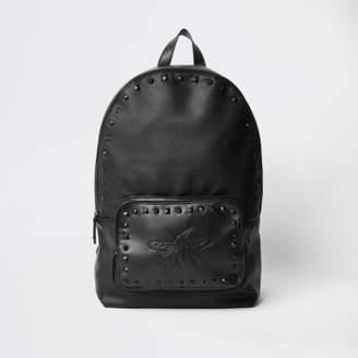 River Island Mens Black wasp embroidered studded backpack