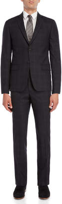 John Varvatos Two-Piece Grey Wool Check Suit
