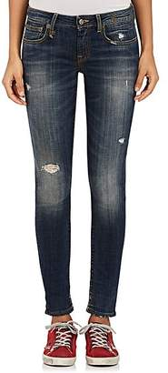 R 13 Women's Kate Skinny Distressed Jeans - Md. Blue
