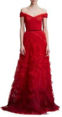 Marchesa Off-The-Shoulder Tiered Ruffle Gown