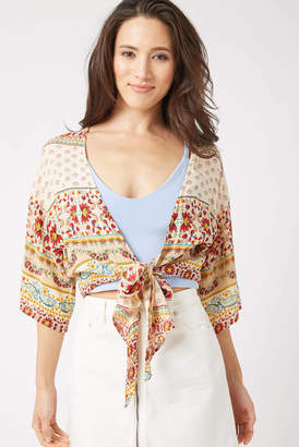 Patrons Of Peace Mixed Print Tie Front Top Cream S