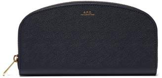 A.P.C. Half Moon Saffiano Leather Wallet - Womens - Navy