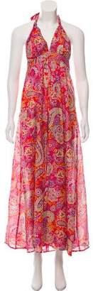 OndadeMar Floral Print Halter Maxi Dress