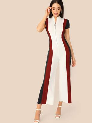 Shein Zip Fly Striped Panel Jumpsuit