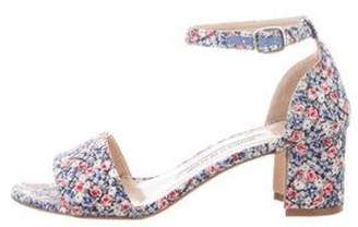 Manolo Blahnik Satin Floral Print Sandals Beige Satin Floral Print Sandals