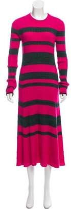 Proenza Schouler Wool-Blend Stripe Sweater Dress green Wool-Blend Stripe Sweater Dress