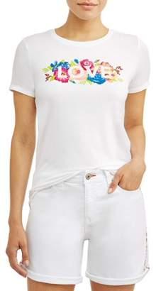 8e5933f45 EV1 from Ellen DeGeneres Floral Love Crew Neck Short Sleeve Graphic T-Shirt  Women's