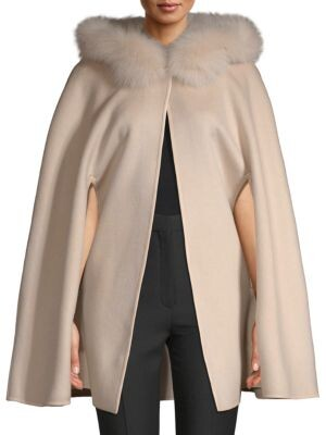 Made For Generation 800GM Fox Fur-Trimmed Wool Cape