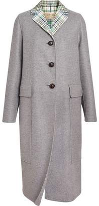 Burberry Check Collar Cashmere Coat