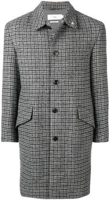 Closed check print coat