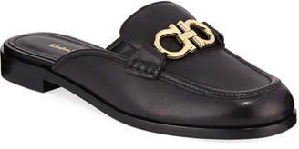 Salvatore Ferragamo Viggio Flat Leather Mule Loafers with Reversible Gancini Bit