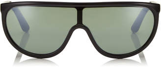 Jimmy Choo HUGO Green Mirror Mask Sunglasses with Black Frame and Removable Band