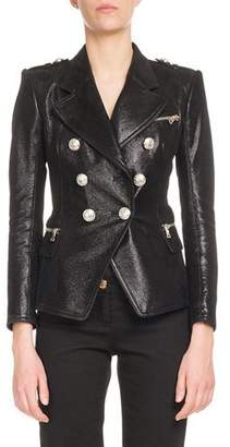 Balmain Classic Double-Breasted Leather Blazer