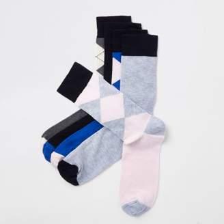 River Island Blue argyle print socks multipack