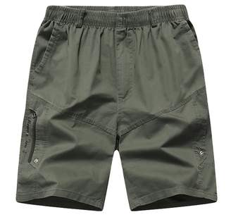 LIVEINU Men's Short Casual Cotton Work Shorts Elastic Waist Cargo Shorts Big & Tall XL