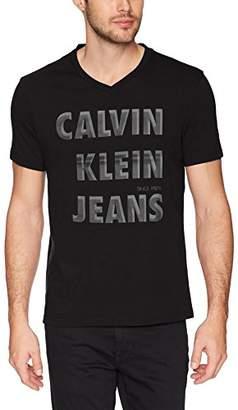 Calvin Klein Jeans Men's Short Sleeve T-Shirt HD Shadow Logo V-Neck