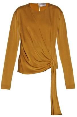 Lanvin - Draped Front Satin Crepe Blouse - Womens - Dark Yellow