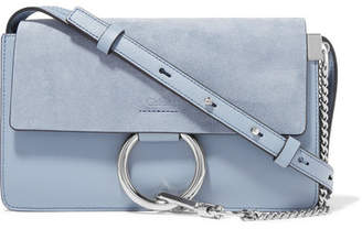 Chloé Faye Small Leather And Suede Shoulder Bag - Light blue