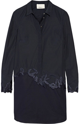 3.1 Phillip Lim - Embroidered Cotton-poplin Shirt Dress - Midnight blue $495 thestylecure.com