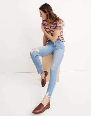 """Madewell 9"""" High-Rise Skinny Jeans in Ontario Wash: Distressed-Hem Edition"""