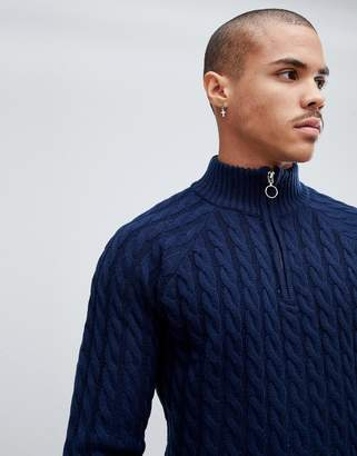 Bellfield Cable Sweater With Half Zip In Navy Marl