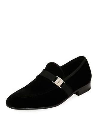 Salvatore Ferragamo Men's Velvet Formal Loafer, Black