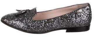 Miu Miu Glitter Pointed-Toe Loafers