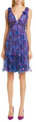 Marchesa Floral Tulle Cocktail Dress