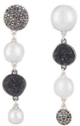 Lucky Brand Asymmetrical Pave Faux Pearl Drop Earrings