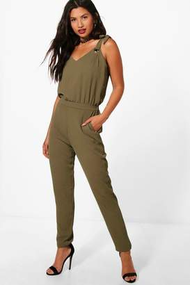 boohoo Lisa Tie Strap Jumpsuit $24 thestylecure.com